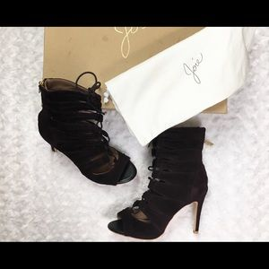 NWOT Joie Lace-front Suede Booties